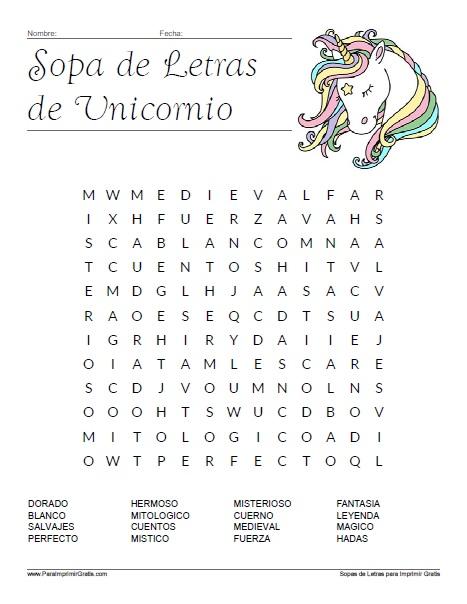 Sopa De Letras De Unicornio Para Imprimir Gratis