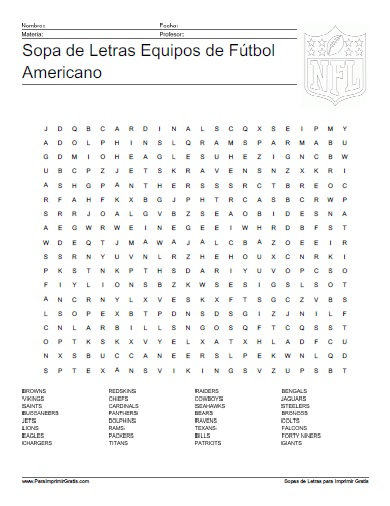 Sopa de Letras Equipos de Fútbol Americano - Para Imprimir Gratis ...