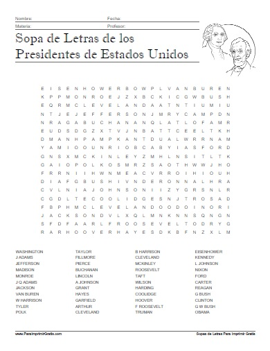 Sopa de Letras Presidentes de Estados Unidos - Para Imprimir Gratis ...