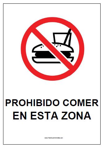 Cartel De Prohibido Comer Para Imprimir Gratis