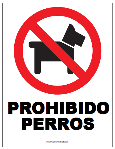 Señal De Prohibido Perros Para Imprimir Gratis